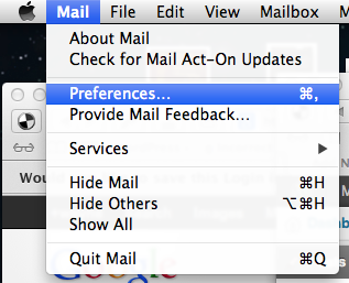 Select preferences from the mail menu