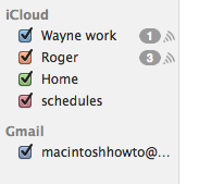 The Gmail calendars will now appear alongside your iCloud calendars.
