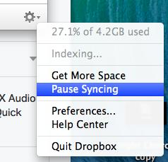 Pause Dropbox