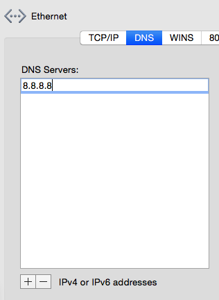 Putting the Google DNS number into my network preferences.