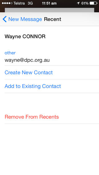 Simply click 'Remove from Recents' and their email address will stop appearing in future emails.