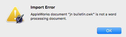 Pages could not open an old AppleWorks file but libra office did open this file.