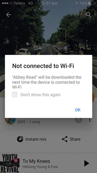 In this example Phone data is turned off so I can't download a song.