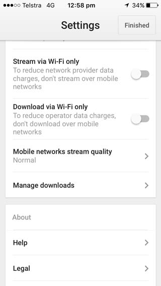 Google play gives you much more control over streaming options so that if you want to use your phone data to download music you can.